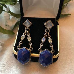 Caroline Pollack Blue Lapis Drop Pierced Earrings